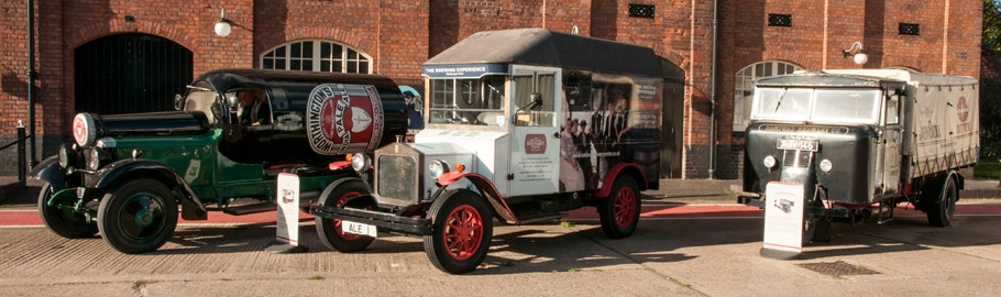 An eclectic collection of brewing industry vehicles