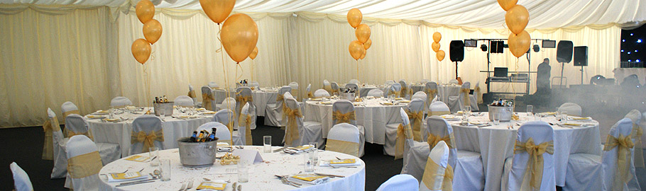 Our  permanent marquee dressed for your occasion